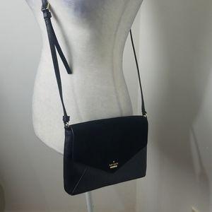 Kate spade crossbody messenger bag pebbled leather suede euc black
